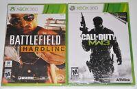 Xbox 360 Game Lot - Battlefield Hardline (New) Call of Duty Modern Warfare 3 MW3