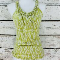 Ann Taylor Women's Top Green White Sleeveless Scoop Neck Size XS