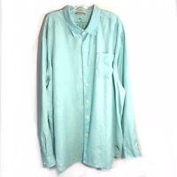 Tommy Bahama Relax Blue 100% Linen Long Sleeve Shirt Button Down Men's Size XXL