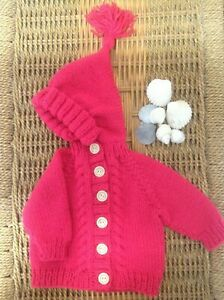 Knitting pattern for Top down Baby Hooded Jacket with cable detail.