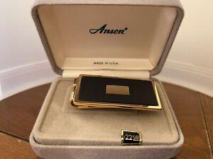 New Anson Gold Tone Black & Gold Enamel Engravable Money Clip Original Box