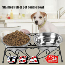 Double Stainless Steel Cat Dog Puppy Pet Water Food Feeder Dish Bowl Stand Raise