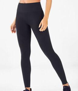 NWT - FABLETICS Women's 'SEAMLESS RIB' Black HIGH-WAISTED LEGGINGS - M (8)