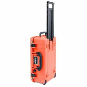 Orange & Black Pelican 1535 Air No Foam.  With wheels and Carry on approved.