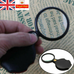 Folding Magnifier Glass Pocket Small Size Optical Magnifying Lens Eye Loupe 5X