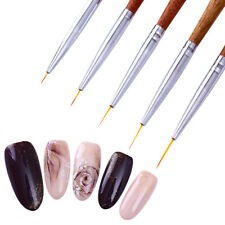 5x UV Gel Liner Drawing Brush Painting Acrylic Pen Redwood Handle Nail Art Tools
