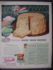 1951 Betty Crocker Maple Pecan Chiffon Softasilk Cake Mix Vintage Print Ad 12327