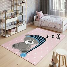 Kid's Bedroom Playmat Rugs Soft Easy Clean Pink Teddy Bear Nursery Pattern Rug