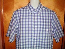 NWT NEW mens size LT purple blue white plaid CHAPS s/s easy care shirt $55