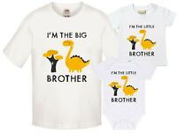 Yellow Dinosaur Big & Little Brother T-Shirts & Bodysuits Pregnancy Reveal Gift