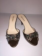 Prada $695 Bejeweled Copper Bronze Patent Leather Shoes Calzature Donna SZ 36 6