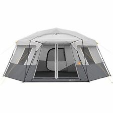Large Instant Camping Tent 11 Person Hexagon Cabin Family Size 17' x 15' x 82''H