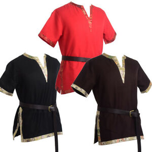 Medieval Renaissance Tunic LARP Tops Men Aristocrat Chevalier Cosplay Costume
