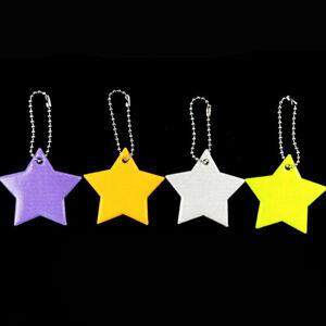 High Reflective Star Keychain Bag Pendant PVC Reflector Key Ring Visible Safety