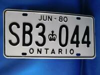 ONTARIO LICENSE PLATE 1980 SB 3 044 BLACK ON WHITE CANADA CAR SHOP GARAGE SIGN