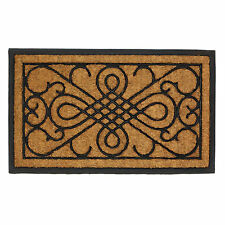 WELCOME MAT: Scrollwork Design Rubber and Coir Porch Entry Door Rug NEW