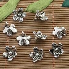 35pcs dark silver tone plum flower charms h3300