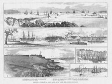 PLYMOUTH Sound Looking Seaward, Hamoaze & Devonport Dockyard -Antique Print 1882