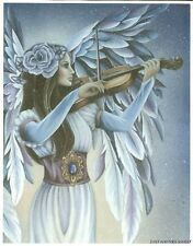 """Jessica Galbreth Divine Melody Angel Print 5x7"""" Feather Wings violin fairy blue"""
