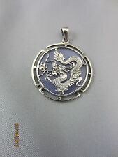 PURPLE JADE CHINESE DRAGON SILVER PENDANT- BEAUTIFUL PENDANT 3.6 GRAMS