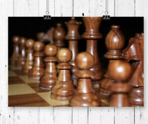 Brown Wood Chess Game Print by East Urban  H29.7cm X W42cm From Wayfair RRP £23