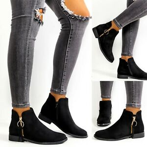 New Womens Ankle Boots Ladies Chelsea Flat Low Heel Casual Booties Shoes Size