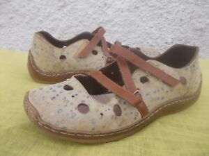 RIEKER YELLOW & BROWN GENUINE LEATHER & LINED COMFORT SHOES-SZ 41/10 VGC