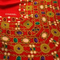 CHANEL JEWELERY RED LARGE HAND ROLLED Silk Scarf 37/34 INCHES