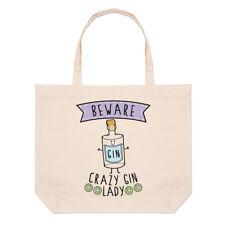 Beware Crazy Gin Lady Large Beach Tote Bag - Funny Tonic Joke Drunk
