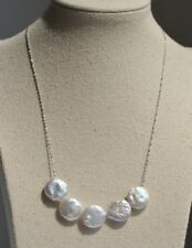 18'' One natural big size  button freshwater pearl 13-14mm necklace 925s chain