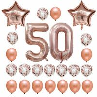Rose Gold Birthday Number 50 Foil Balloon Bouquet (Pack of 24pcs)