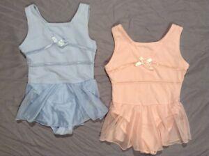 2 Danskin Freestyle toddler girls sleeveless leotards 1 blue/1 pink size 2/3 XXS