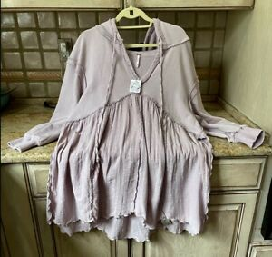Free People Sweatshirt Hood Gauzy Ruffle Sunday Morning Oversize Lavender L NWT
