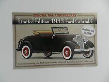 Danbury Mint 1933 FORD CABRIOLET Brochure Pamphlet Mailer