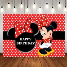 Red Minnie Mouse Photography Backdrop Kids Happy Birthday Party Photo Background
