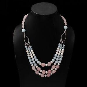 Rose Quartz/Aquamarine/Pearl  Smooth Tumble/Rondelle/Round Necklace