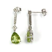 2.6 ct tw Natural Green Peridot & Diamond 14k White Gold Dangle Drop Earrings