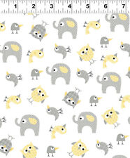 BRO.THER SIS.TER Yellow Animals Quilt Fabric by 1/2 Yard 2145-60 Clothworks