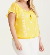 NWT * TORRID Yellow Embroided Smock Blouse * Size 2 / 2x 18w 20w MSRP $44.90