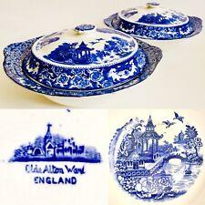 "2 Rare Antique (1906) Swinnertons Ole Alton Ware Blue Willow 10""/25cm Tureens"