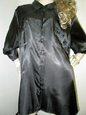 Vintage: Satin! Shiny Black Satin Blouse (Plus)