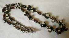 Bohemian Brown And White Faux Bone Beaded Necklace