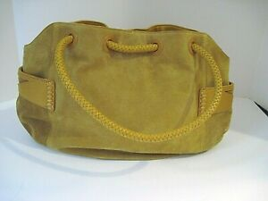 COLE HAAN Gold Leather Suede Small Denney Hobo Bag Purse Penny Collection NEW