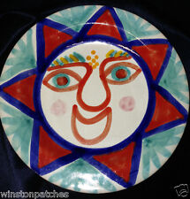 "DESIMONE ITALY ART POTTERY 2214 HAPPY FACE SMILING SUN PLATE 9 7/8"" MULTI-COLOR"