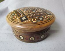 Small Jewelry Box, Walnut Wood, Inlaid w/ Glass Beads & Mother of Pearl Intarsia