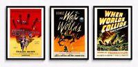 Sci Fi Poster Set x3 - Body Snatchers, War of the Worlds, When Worlds Collide