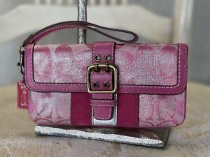 COACH Signature Stripe Pink Metallic Silver Leather Jacquard Suede Wristlet
