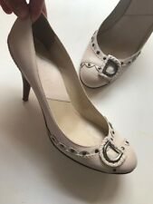 Dior Pump Off White Heels Leather Shoes Size 38.5