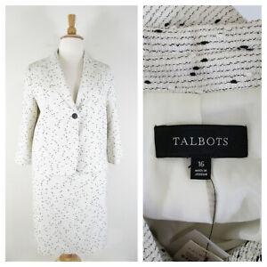 Talbots Plus Size Ivory Black Knit Tweed Wool Skirt Suit 16 18 Career NWT $298