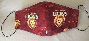 Brisbane Lions AFL - Face mask Handmade cotton,washable(medium/large size face)